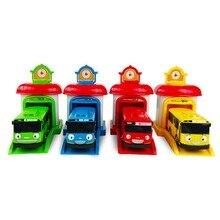 4Pcs/Set Korean Cute Cartoons garage tayo the little bus model mini tayo plastic baby araba oyuncak car for kids Christmas gift