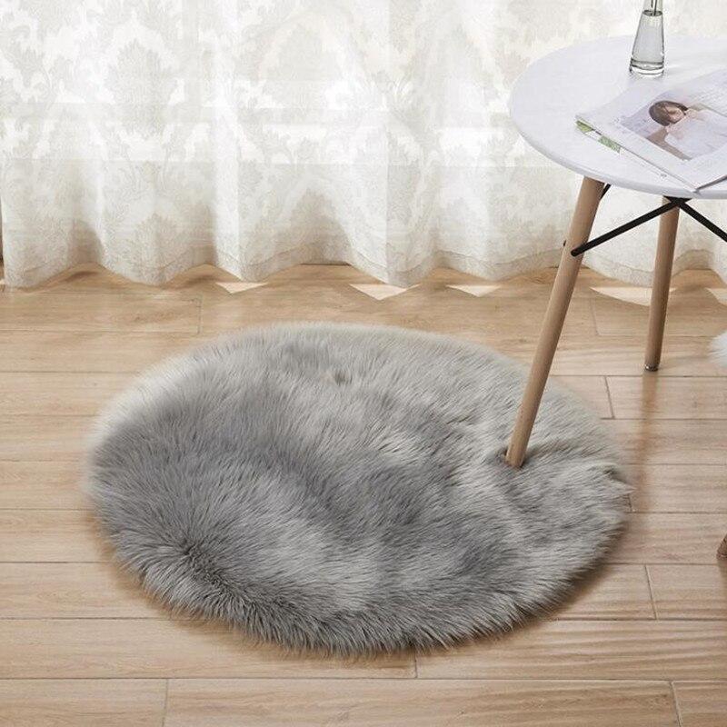 15 Kleuren Schapenvacht Wollen Tapijt Stoel Cover Slaapkamer Faux Mat Seat Pad Plain Skin Bont Vlakte Pluizige Karpetten Wasbare