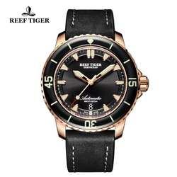 Риф Тигр/RT мужские работающие под водой часы с датой супер световой автоматический нейлоновый ремешок Розовое золото часы RGA3035