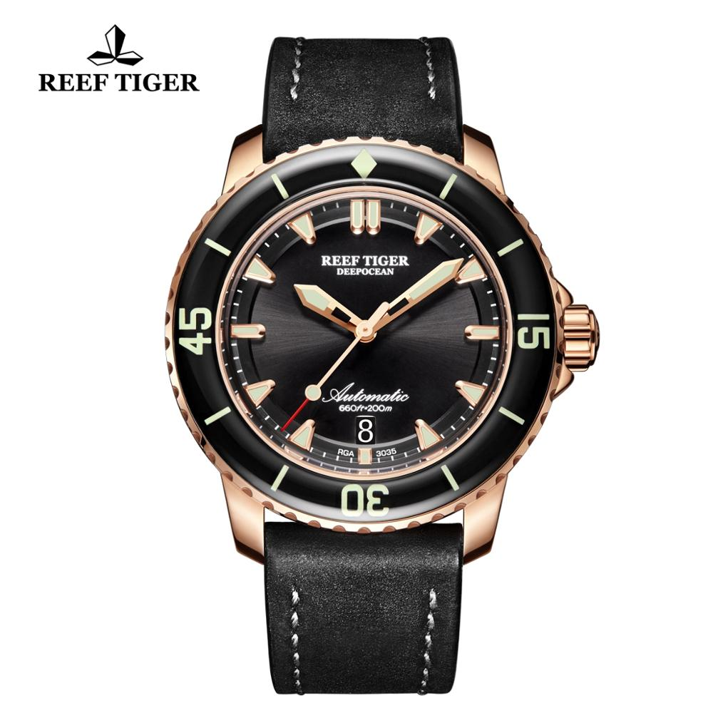 Reef Tiger/RT Mens Dive Watch with Date Super Luminous Automatic Nylon Strap Rose Gold Watches RGA3035Reef Tiger/RT Mens Dive Watch with Date Super Luminous Automatic Nylon Strap Rose Gold Watches RGA3035