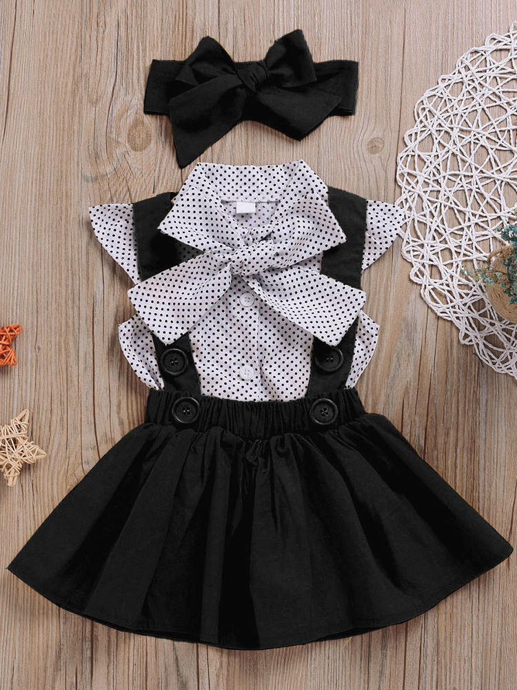 Clothes-Sets Headband Dresses Baby-Girls Hello Enjoy Kids Children's Summer Dot Strap