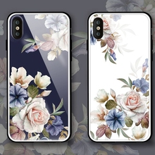 цена на Rose flowers beautiful Tempered Glass Case For iPhone 7 Case For iPhone XS XR Max Cover For iPhone 6 6S 7 8 Plus X Funda Coque