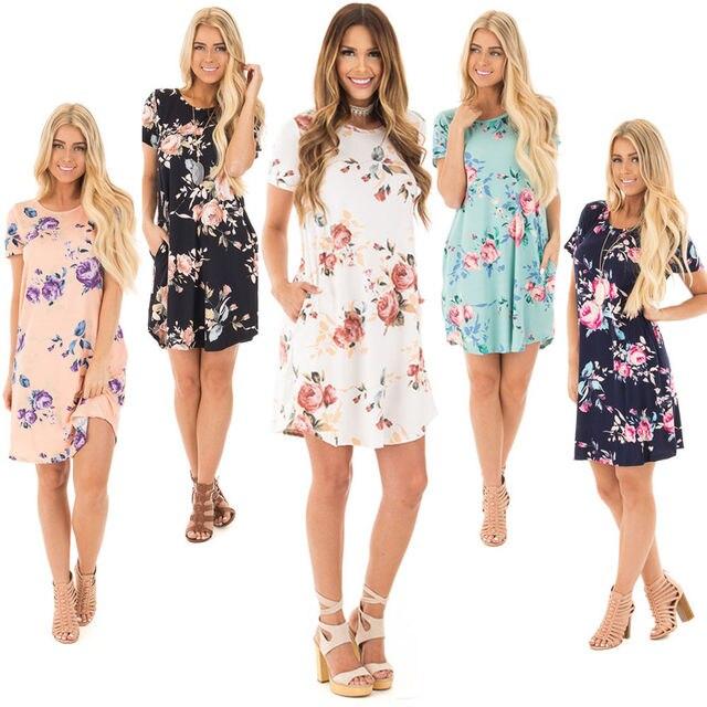 ac95c28ea Vestido de verão Mulheres de Manga Curta Floral Imprimir Pockets Casual Flor  Azul Rosa Branco Preto