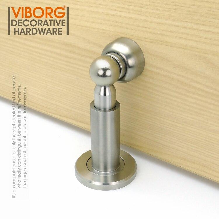 VIBORG Deluxe 304 fundición de acero inoxidable Heavy Duty ajustable piso pared montado magnético tapón de la puerta parada de puerta Doorstop