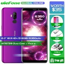 Ulefone Güç 3L 6.0 Inç 18:9 HD + Smartphone 6350 mAh MT6739 Ouad Çekirdekli 2 GB 16 GB Yüz KIMLIĞI android 8.1 Cep telefonu