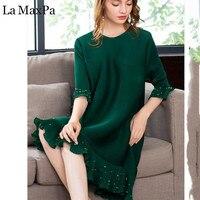 La MaxPa Bead women dress Pleated original design 2018 New Autumn O neck Short sleeve Loose Large Size Elastic Female Dresses