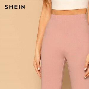 Image 5 - SHEIN Pink Elastic High Waist Straight Leg Solid Long Pants Women Trousers Office Lady Spring Elegant Workwear Wide Leg Pants