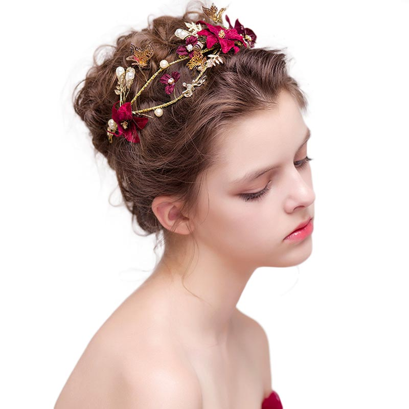 Bridal Hair Accessories Handmade Red Flower Metal Hairband Pearl Hairpieces Women Hair Jewelry Vintage Baroque Tiaras Gift