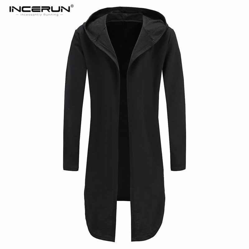 Men's Long Cardigan Open Stitch Hooded Sweatshirts Black Gown HipHop Mantle Hoodies Fashion Jacket Long Sleeve Cloak Coat Hombre