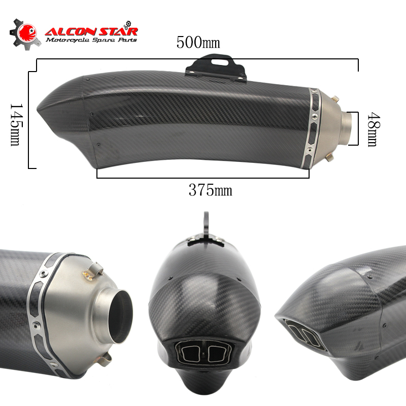 Alconstar- 48mm or 51mm Carbon Fiber Motorcycle Muffler Pipe Dirt bike exhaust Case For YAMAHA YZF R1 R6 TMAX530 XMAX Z750 Z800