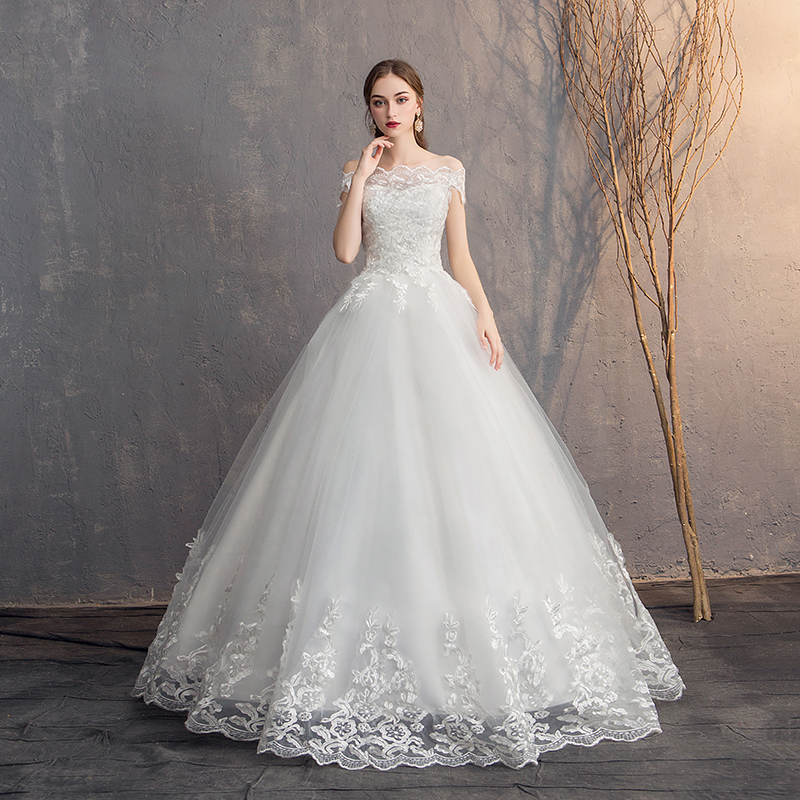 EZKUNTZA 2019 Off The Shoulder Lace Wedding Dress Cheap Bridal Dress Made In China Simple Embroidery Vestido De Noiva
