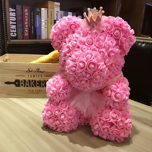 Foam Bear Mold PE Rose Artificial Flower Heads Rose Bear White Mold and Gift Box DIY Rose Bear Accessories Bag 5