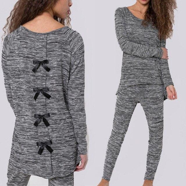 2017 Autumn Women Cotton Tracksuit Black Bow Back long sleeve Casual tracksuit hoodie set sweatshirts + pants E