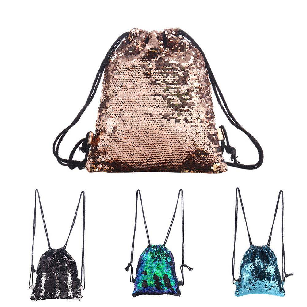 Fashion Sequin Backpack Draw String Large Capacity Women Outdoor Travel Shopping Shoulder Bag For Teenage Girls Women Hotsale
