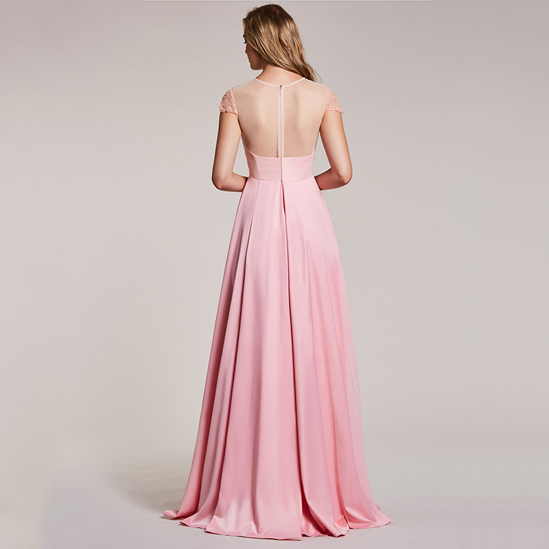 Image 2 - Dressv pink evening dress cheap scoop neck a line beading cap sleeves floor length wedding party formal dress evening dresses-in Evening Dresses from Weddings & Events