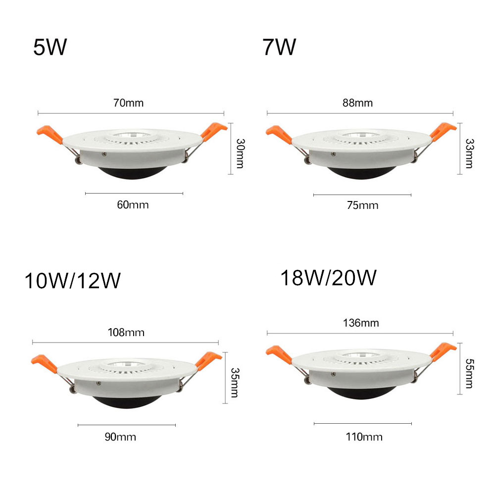DBF High Quality Epistar LED COB Recessed Downlight Dimmable 5W 7W 10W Angle Adjustable Ceiling Spot Lamp Home Decor 110V 220V in Downlights from Lights Lighting