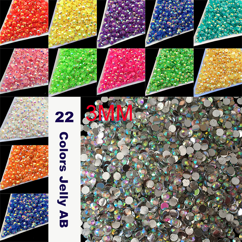 Wholesale 22 Colors Jelly Laser Crystal SS12 AB 3mm Flatback Rhinestones crystal facet resin 10000pcs/bag nail art beads 1000 pcs 3mm ss12 ab milk jelly color resin rhinestone acrylic flatback diy nail art decoration beads rose gold ab j15