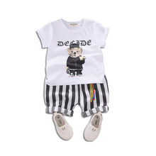 Boys set 2019 summer children cartoon short sleeve baby casual striped shorts two-piece set 1-4 years old kids clothing