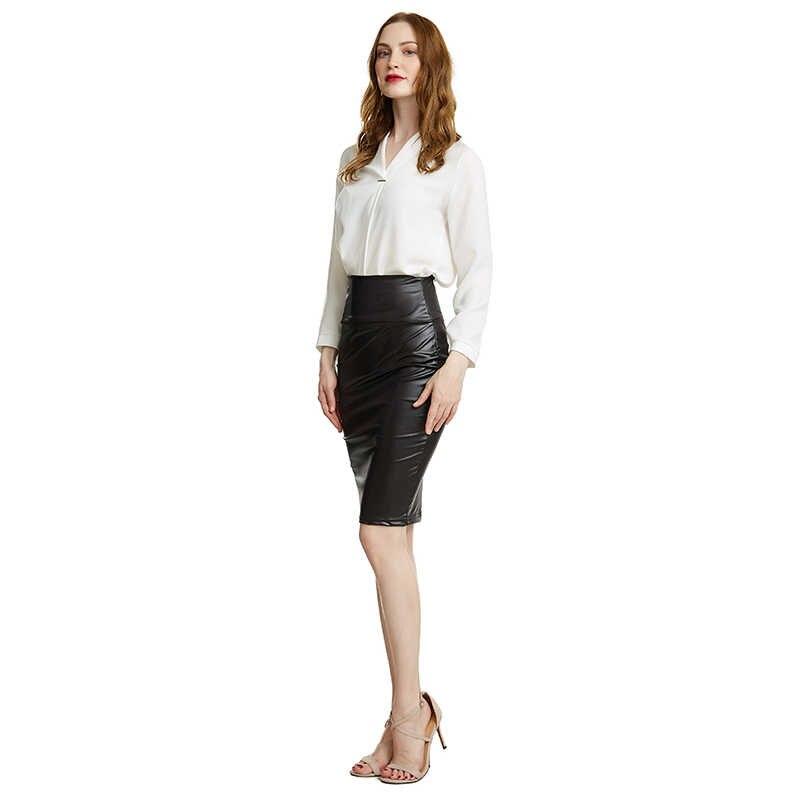 2019 Baru Wanita Bodycon Rok High Waist Faux Kulit Rok Solid Seksi Kantor Pensil Rok Hitam
