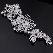 Luxury Crystal Bridal Hair Combs for Women Large Leaf Shape Hairpins Rhinestone Wedding Jewelry Accessories, Side Tiara