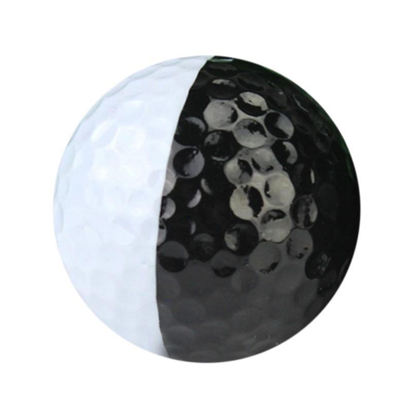 Golf Ball Black And White Synthetic Rubber Resin Golfing Practice Two Piece Balls Present Gift