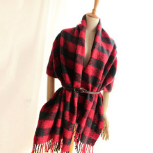 New Arrival Women's Winter Scarf Ladies Poncho Vintage Tartan Shawl Wrap Tassel Scarves Plaid Scarf Foulard Warm Bufandas