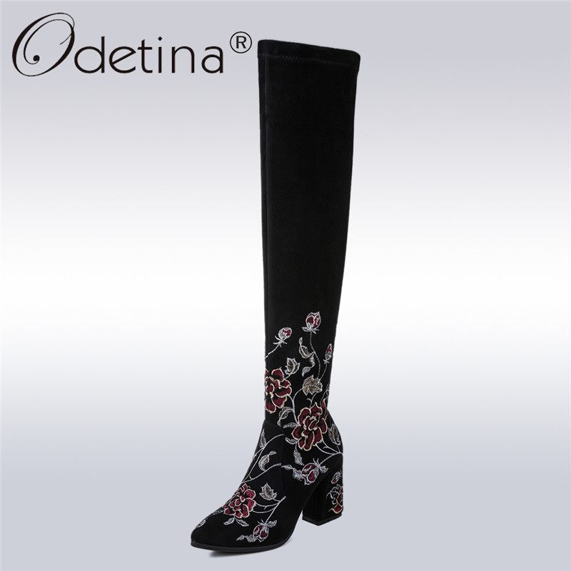 Odetina 2018 Fashion Sexy Woman Over The Knee Boots High Heel Pointed Toe Square Heels Thigh High Boots Embroider Flower Zipper odetina 2018 fashion sexy woman over the knee boots high heel pointed toe square heels thigh high boots embroider flower zipper