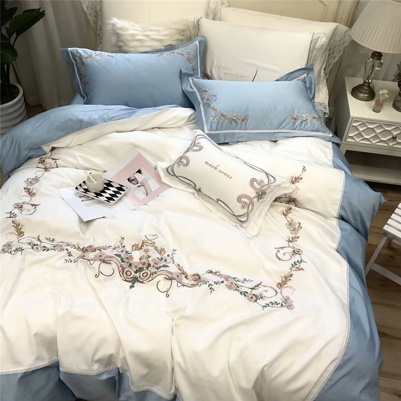 New arrival White blue queen king Bedding Set Egyptian cotton embroidery bed set bed cover soft Bedsheets Duvet quilt cover 40New arrival White blue queen king Bedding Set Egyptian cotton embroidery bed set bed cover soft Bedsheets Duvet quilt cover 40