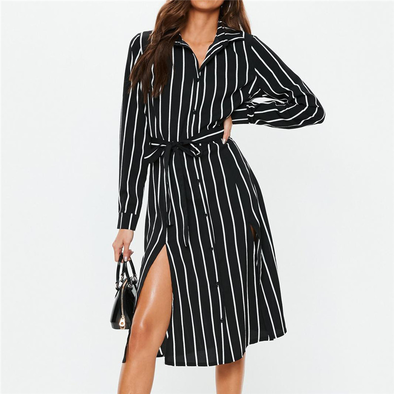 Office Ladies Shirt Dress Women Autumn Striped Chiffon Dress Casual Sundress Tunic Long Sleeve Midi Elegant Party Dress Vestidos