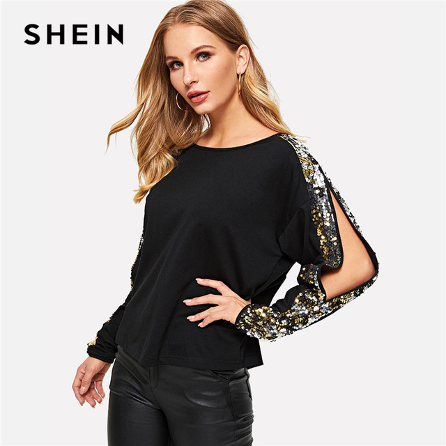 ba301df5cd SHEIN Black Sequins Contrast Split Sleeve Tee Round Neck Long Sleeve T Shirt  Women Summer Casual