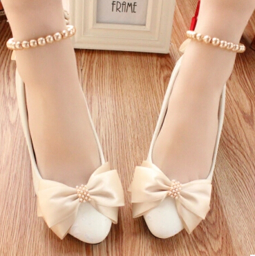 White wedding shoes woman champagne bowtie butterfly knot bowtie wedding shoes for woman low high heel plus size ankle strap