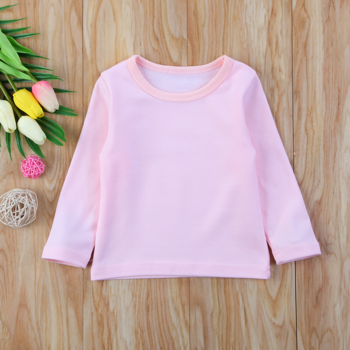 Autumn Cotton Newborn Infant Kids Baby Boys Girls Clothes Solid Cotton Soft Clothing Long Sleeves T-shirt Tops 3