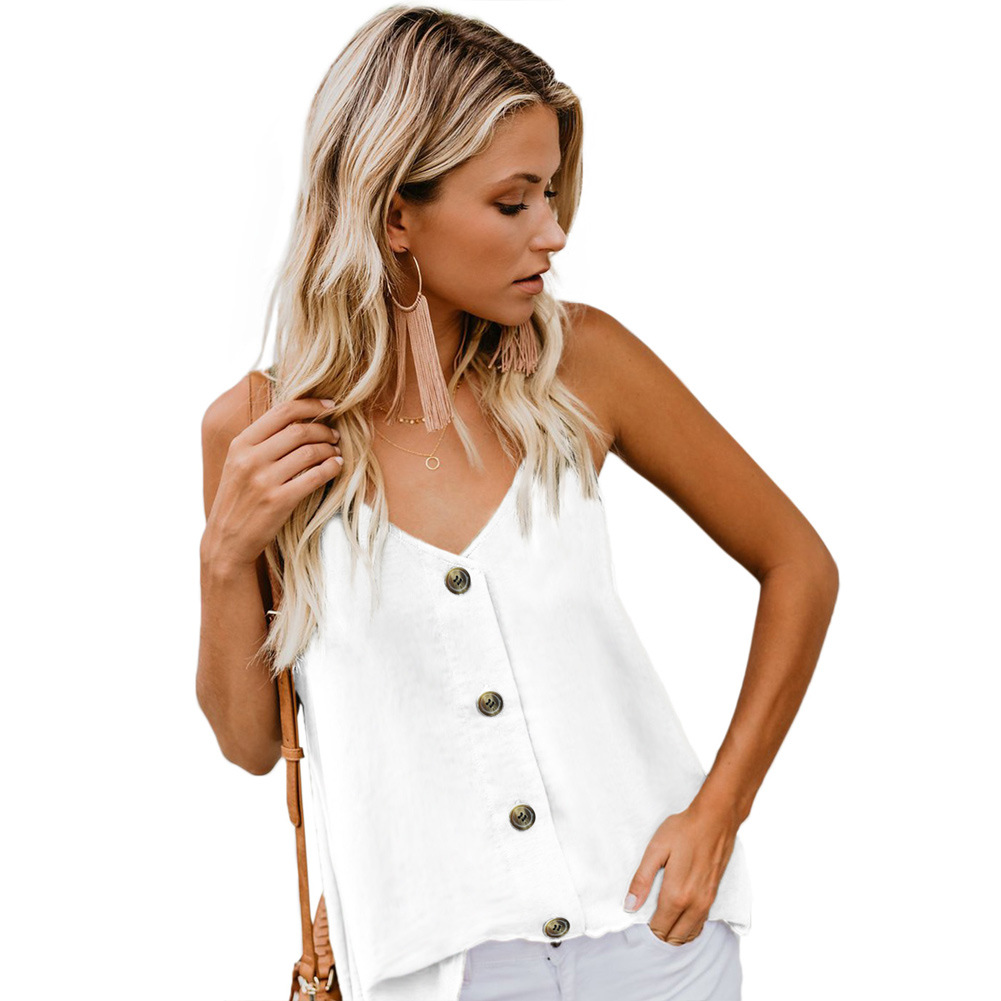 Women's Button Down V Neck Strappy Loose Casual Sleeveless Shirts
