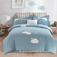 Красивый синий Queen King натуральный хлопок Постельные Принадлежности Комплекты мягкие постельное белье Вышивка олень Пингвин простыня набор