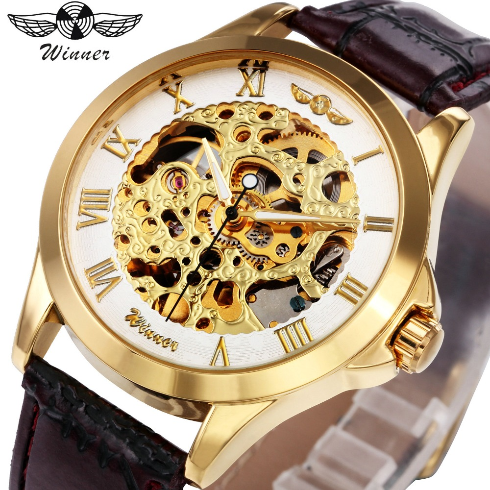 2018 WINNER Women Automatic Mechanical Watch Leather Strap Skeleton Watch for Ladies Luminous Hands Roman Numerals Golden Dial winner brand women mechanical watches roman numerals ladies hand winding wristwatches 2017 fashion skeleton dial gift for female