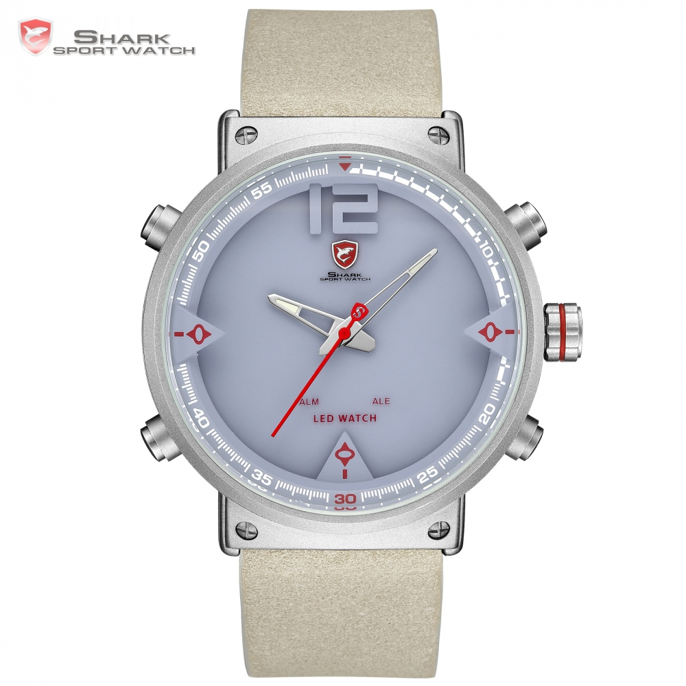 Bluegray Carpet Shark Sport Watch Digital 2018 NEW Design Double Time LED Date Alarm Leather Men's Quartz Watches Relogio /SH550 автоинструменты new design autocom cdp 2014 2 3in1 led ds150
