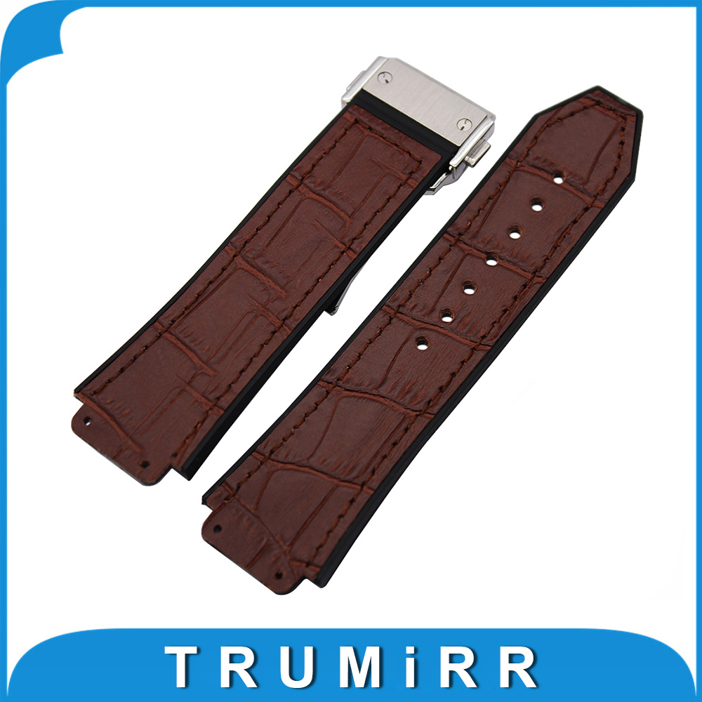 26mm x 19mm Genuine Leather Silicone Rubber Watchband for Hublot Big Bang Watch Band Steel Butterfly