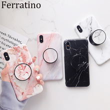 Fashion Marble Grip Holder Phone Case For iPhone X 7 8 6 6S Plus Soft Silicone Coque XR XS MAX Luxury Back Cover Capa