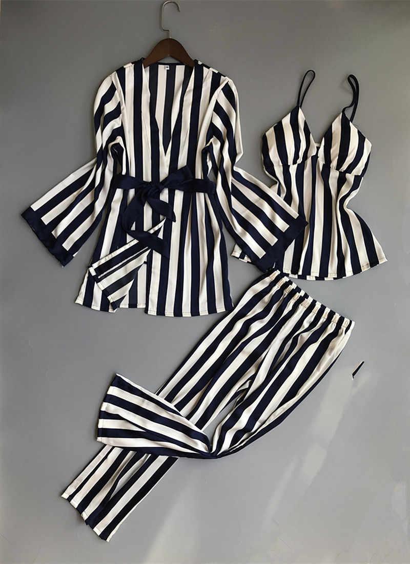 RenYvtil פיג 'מת נשים הדפסת פרחי סאטן משי פיג' מה הלבשת ללבוש בבית Pyjama טרקלין שנת בגדי בית חמוד מתוקה חליפת בית