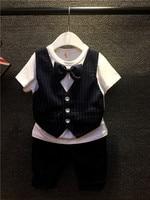 2018 New Summer Baby Clothing Set Boys Gentleman Dress Bow Wedding Set Stripe Suit + Pants 2pcs Child Set Free Shipping