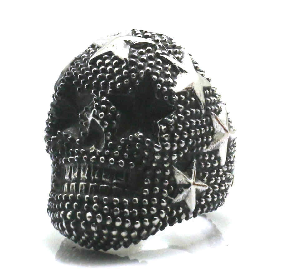 Men/'s Stainless Steel Star Skull Dotted Ring Band Vintage Fashion Classic Gothic