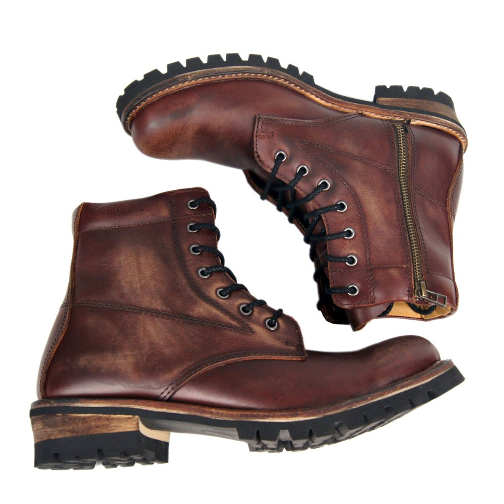 Beautiful Polished Boots Vintage Shoes Genuine Cow Leather Low Heel Ankle Boot Punk Combat Mens Western Cowboy Boot Motorcycle Rock Boots Men's Shoes