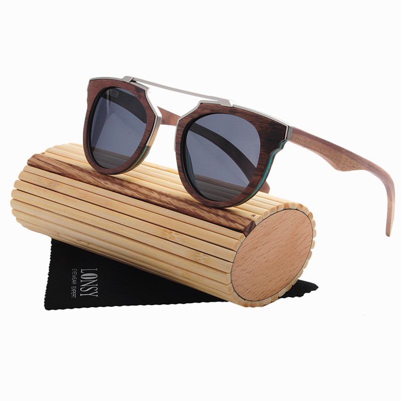 Lonsy 2017 Handmade Veneer Wood Sunglasses Women Men Retro Vintage High Quality Wood Frame Ls2143 To Be Highly Praised And Appreciated By The Consuming Public Women's Glasses