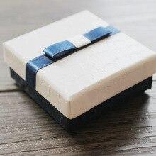 DoreenBeads ювелирные коробки животных кожаный узор кольцо серьги Подарочная коробка синий и белый бант 6,3*6,3*2,3 см 1 штука