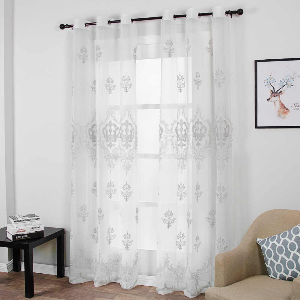 Luxury Palace White Embroidered Floral Sheer Curtains for Living Room Bedroom Tulle Yarn Door Window Curtain for Kitchen Home