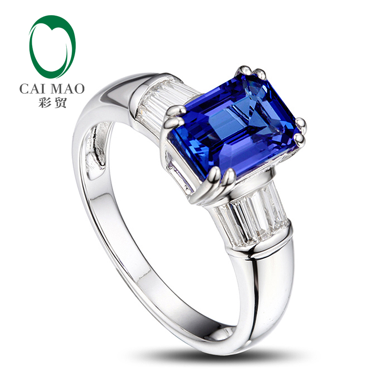 Caimao 14K White Gold Emerlad Cut 1.76ct Natural Tanzanite Baguette Cut Diamond Ring caimao exquisite jewelry natural cabochon cut emerald baguette cut diamond 14kt white gold drop earrings