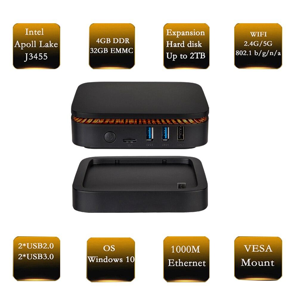 Mini pc windows 10 Apollo Lake J3454 (HDMI, double sortie vidéo type-c, Ethernet 1000 M, wifi 2.4G/5.8G, disque dur d'extension amovible)