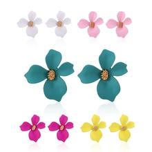 HOCOLE Fashion Flower Metal Stud Earrings For Women Korean Brincos 2019 Za Boho Earring Geometric Female Wedding Jewelry