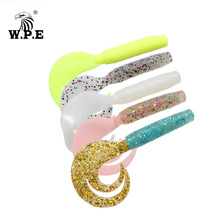W.P.E Brand Soft Lure 5pcs/lot 90mm Forked Tail Multicolor Silicone Bass Fishing Swim Bait Jig Head