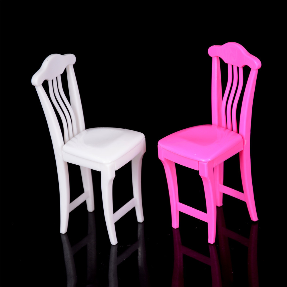 Pink 4pcs Dollhouse Chair Toy Nursery Baby High Chair Table Chair For Doll's House Furniture Play House Toys